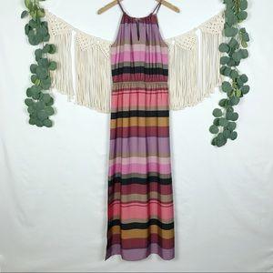 LOFT | Halter Top Striped Maxi Dress, Size Small